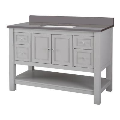Home Decorators Collection Gazette 49 In W X 22 In D Bath Vanity Cabinet In Grey With Engineered Marble Vanity Top In Slate Grey With White Sink Gaga4822d Slg Marble Vanity Tops Vanity