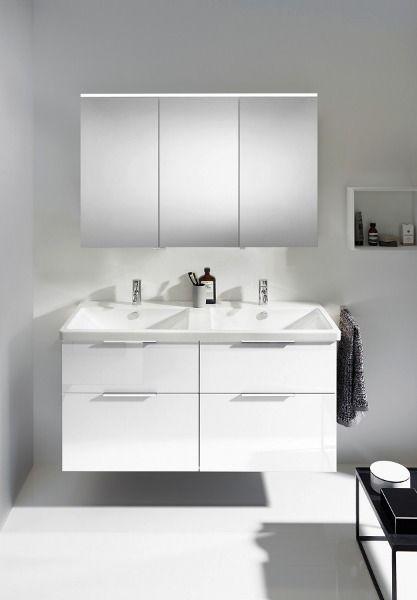 Burgbad Eqio Mobelset Doppelwaschtisch Mit Spiegelschrank In Weiss Hochglanz In 2020 Doppelwaschtisch Spiegelschrank Unterschrank