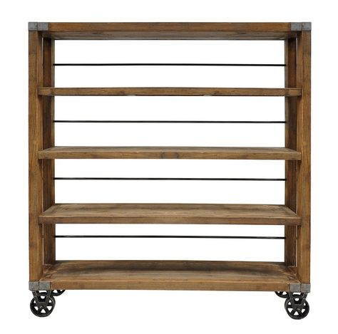 Rolling storage shelf with an industrial-inspired flair. Crafted of rustic reclaimed wood atop an iron wheeled base, the Factory Rustic Industrial Rolling Bookcase is finished with a distressed finish for an authentic, worn-in look. Fitted with wooden shelves set in a sturdy frame and topped with a distressed finish for an authentic, worn-in look.