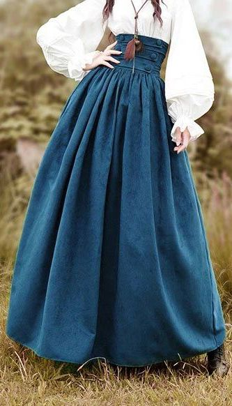 Blue High Waist Wrinkled Cotton Black Skirt Long Skirt Outfits Vintage Dresses Online Vintage Skirt