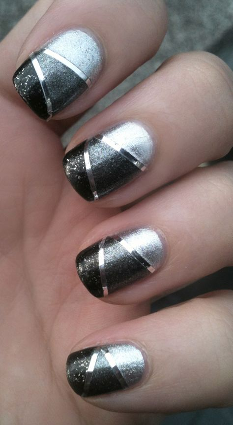 Nail Polish Nails Nail art manicure silver black