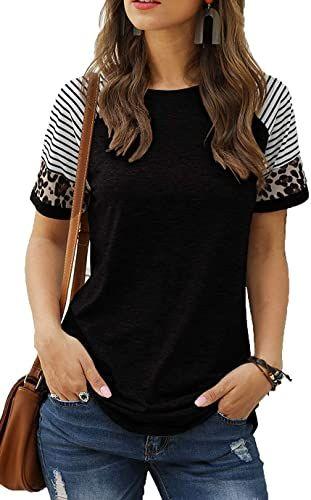 LARACE Striped Tops for Women Short Sleeve Leopard Print Tunics Color Block Long Tee Shirt