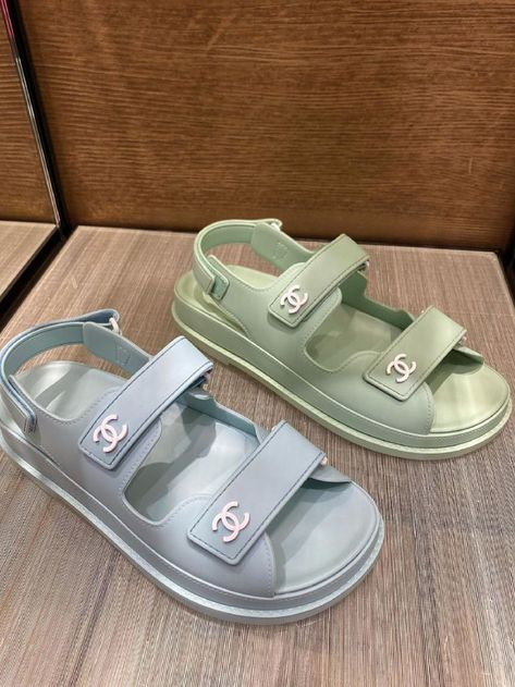 Double C real leather sandals Sneakers Mode, Sneakers Fashion, Fashion Shoes, Shoes Sneakers, Shoes Heels, Chunky Sneakers, Dior Sandals, Chunky Sandals, Gucci Sneakers