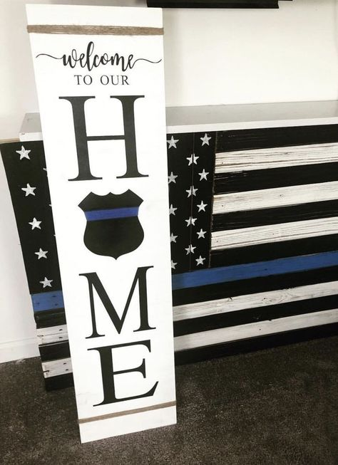 Front Porch Sign, This is our home (with police shield)