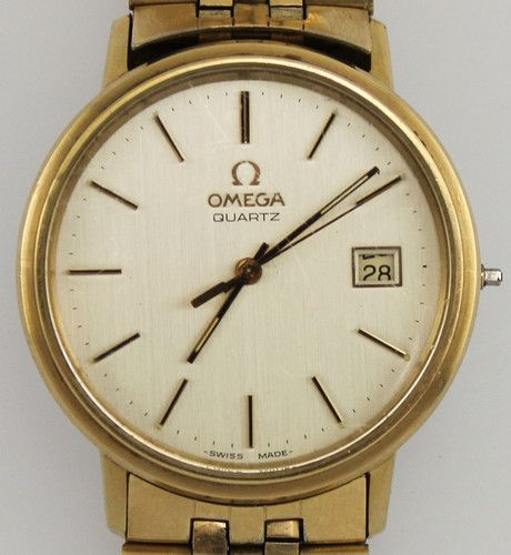 Vintage Omega Quartz Date cal 1342 Gents Dress Wrist Watch w/ Box Papers