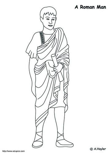 Dibujo Para Colorear Hombre Romano Romanos Imperio Romano Trajes Romanos