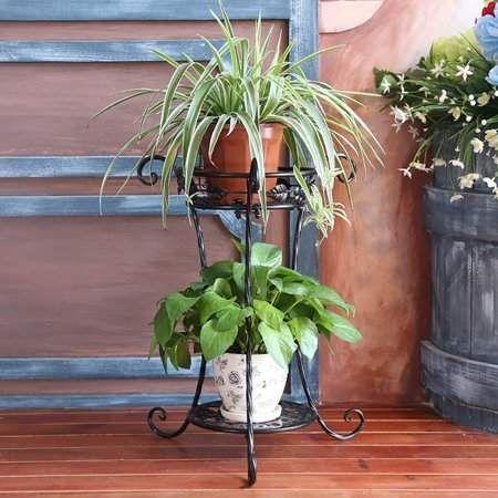 Kadell Metal Round Plant Stand Shelf Holder Flower Pot Rack Holder Two Layer Decorative Flower Pot 38 22 54cm Flower Pots Plant Stand Metal Plant Stand