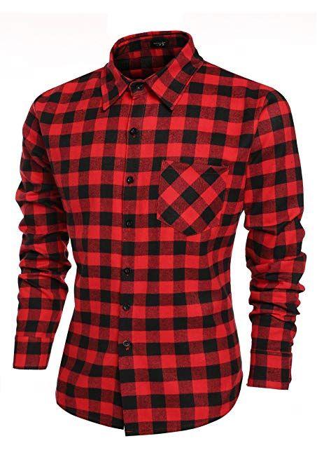 Hombre Camisa a Cuadros Manga Larga Botón Bolsillo Casual