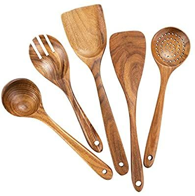 Amazon Com Wooden Cooking Utensils Teak Wooden Spoons For Cooking Wood Utensil For Nons In 2020 Wooden Cooking Utensils Wood Cooking Utensils Wooden Kitchen Utensils
