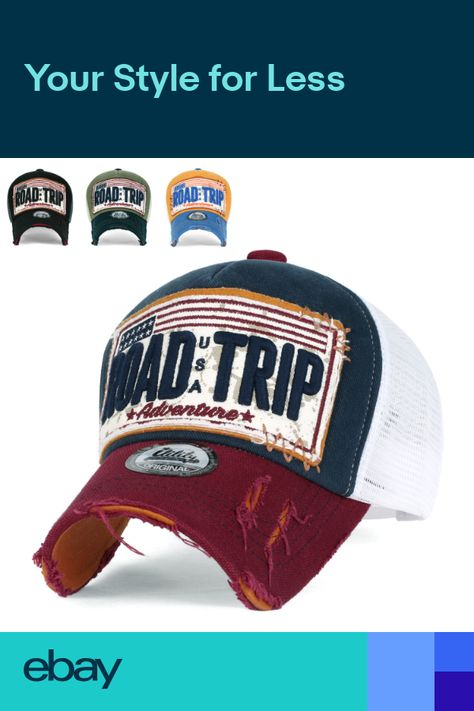 4a04ecbd ililily ROAD TRIP Vintage Distressed Snapback Trucker Hat Baseball Cap  ($14) ❤ liked on Polyvore featuring accessories, hats, distressed ba…