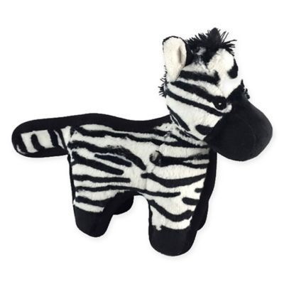 Hyper Pet Tough Plush Zebra Pet Toy In Black White Hyper Pet