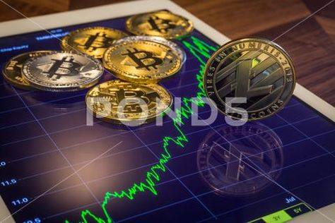 Cryptocurrency Litecoins with prediction increase market price graph. ~ Hi Res #89822633