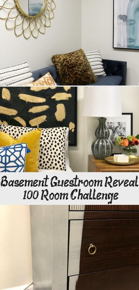 Basement Guestroom Reveal - Renovation of the bedroom in the basement with painted chest of d...#basement #bedroom #chest #guestroom #painted #renovation #reveal