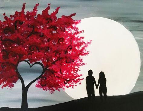 Red Heart Tree in Moonlight at TGIF (New Brunswick) - Paint Nite Events near New Brunswick, NJ>