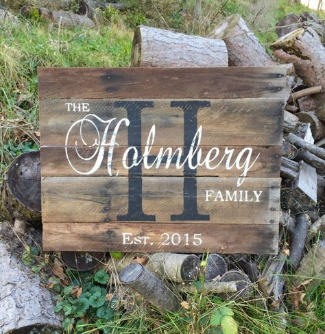 Custom Christmas Gift, Custom Name Sign, Pallet Last Name Wood Sign, Rustic Family Established Sign, Distressed Personalized Name Sign