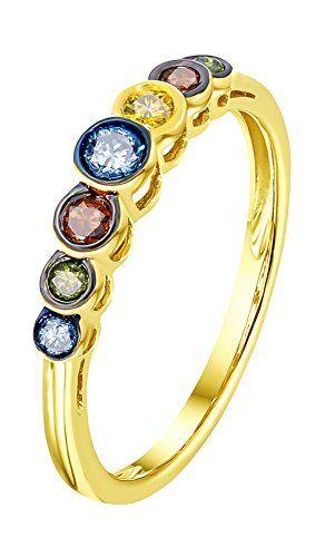 Prism Jewel Round Brilliant Cut Blue Color Diamond Cluster Ring