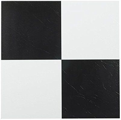 Achim Home Furnishings Ftvso10320 Nexus 12 Inch Vinyl Tile Solid Black And White Pack Of 20 Vinyl Floor Vinyl Flooring Vinyl Tile Self Adhesive Floor Tiles