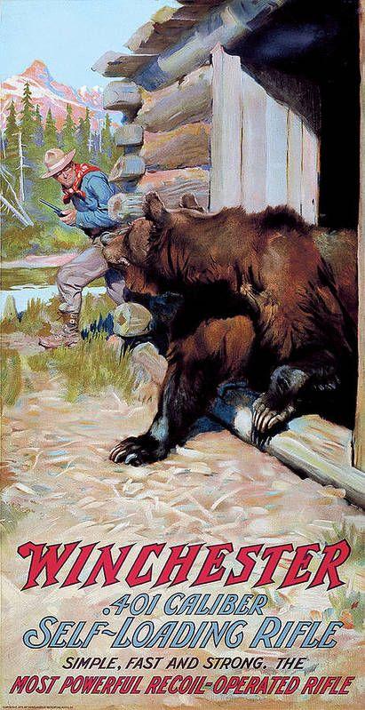 Vintage Advertisements, Vintage Ads, Vintage Posters, Hunting Art, Hunting Rooms, Vintage Tin Signs, Gun Art, West Art, Cowboy Art
