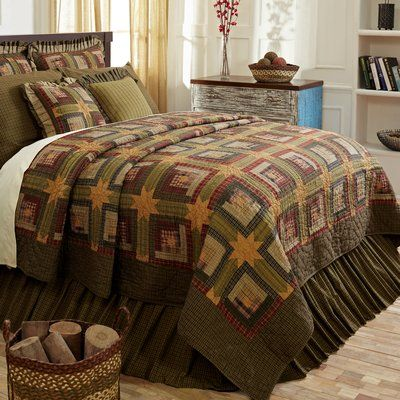August Grove Chorley Patchwork Cotton Quilt Collection 2021 Yatak örtüleri Rustik Yatak