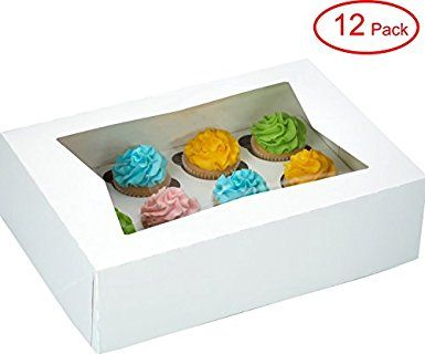 6c772724e589 Window Bakery Cupcake Box With Insert 14″ x 10″ x 4″ Fits 12 ...