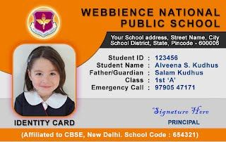 School Idcard Horizontal Idcard Design 3 School Id High School Fun Id Card Template