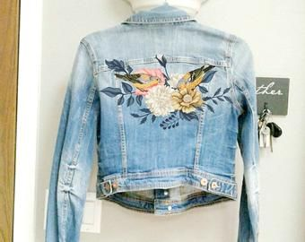 Hand painted duck patch Denim patches birds Upcycled jeans for women
