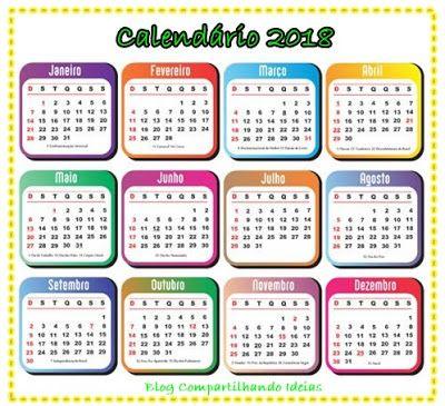 Compartilhando Ideias Calendário 2018 Modelos De