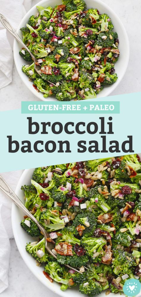 Broccoli Bacon Salad - This classic broccoli salad is one of my favorite summer salads for barbecues, picnics, and potlucks. (Gluten-Free, Paleo-Friendly) // Paleo Broccol Salad // Gluten-Free Broccoli Salad // Summer Side Dish #broccolisalad #broccoli #bacon #summersalad #summer