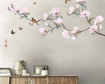 Living Space Interior Designs Cherry Blossoms Tree Branches Etsy In 2021 Flower Wall Stickers Flower Wall Decals Flower Wall