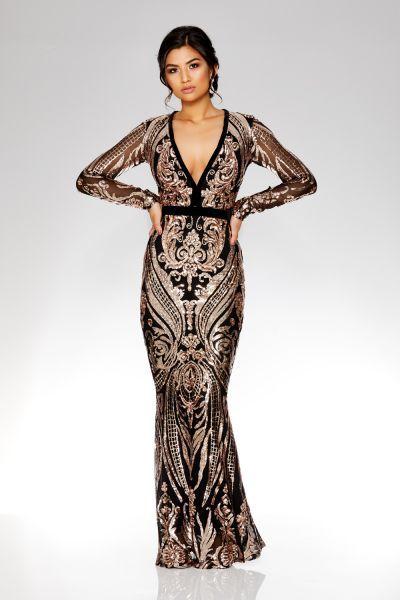Evening Dresses Formal Long Short Gowns Quiz Dresses Fishtail Maxi Dress Gold And Black Dress
