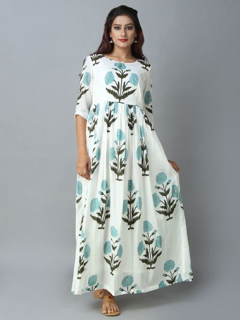 5645271b26 Buy Off White Turquoise Mulmul Maxi Dress online at Theloom