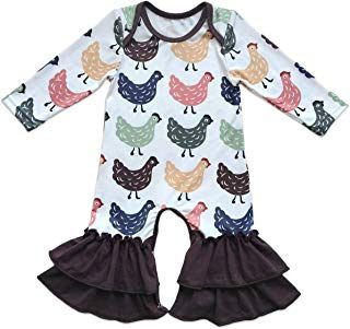 NEW Boutique Baby Girls Floral Long Sleeve Ruffle Romper Jumpsuit