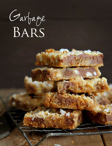 "Amazing ""Garbage"" Bars~ everything but the kitchen sink goes into them and they are delicious!"