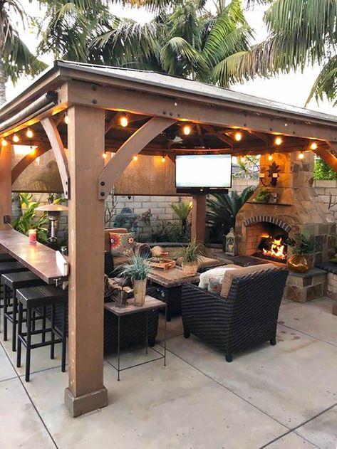 Outdoor Patio Bar, Small Backyard Patio, Backyard Gazebo, Backyard Patio Designs, Pergola Patio, Outdoor Bars, Patio Ideas, Outdoor Gazebos, Outdoor Retreat