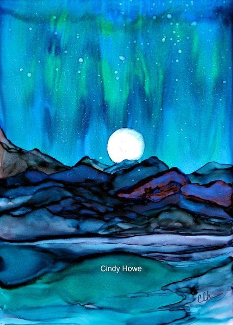 Abstract alcohol Ink, abstract, alcohol ink, abstract art, abstract color, mountains, northern lights, aurora borealis