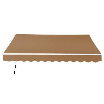 10 Ft W X 8 Ft D Fabric Retractable Standard Patio Awning In 2020 Patio Awning Window Awnings Retractable Shade