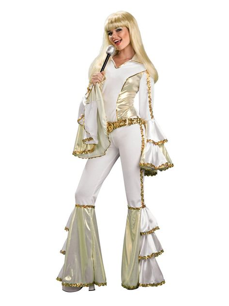 Buy this Disco Queen costume for women online. Great quality gold and white ABBA fancy dress costume, in stock for express delivery Australia wide. Wear this groovy disco costume to your next fancy dress costume party.