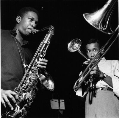 John Coltrane and Lee Morgan, Coltrane's Blue Train recording session, September 1957 - by Francis Wolff