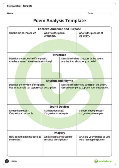Poetry Analysis Template Teaching Resource Classroom Teaching