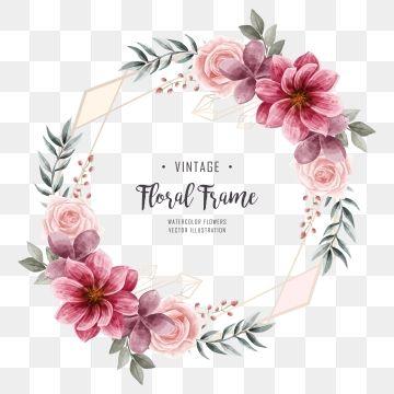 Watercolor Floral Flower Frame Wedding Invitation Golden Geometric Frame Png And Psd Quadros De Casamento Beira Floral Frame Floral