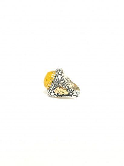 خاتم فضة عيار 925 حجر كهرمان Jewelry Class Ring Rings