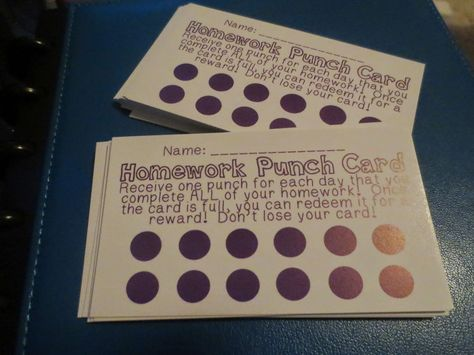 homework punch cards | one hole punch per night of completed homework | fill card and redeem for a prize!