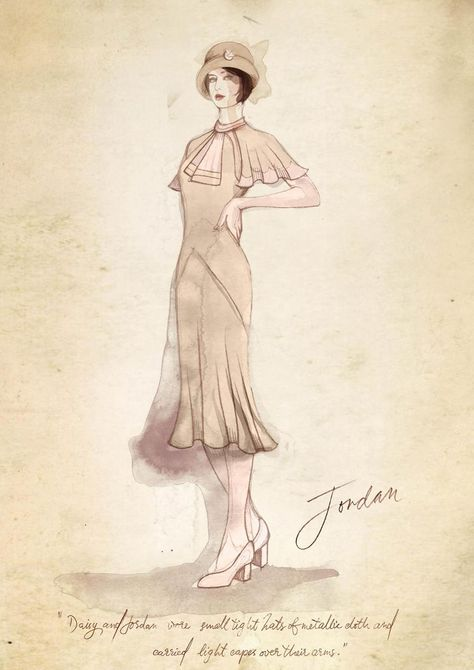 The Great Gatsby (2013) | Designer Catherine Martin's sketch of Elizabeth Debicki's 'Jordan Baker' in streetwear.