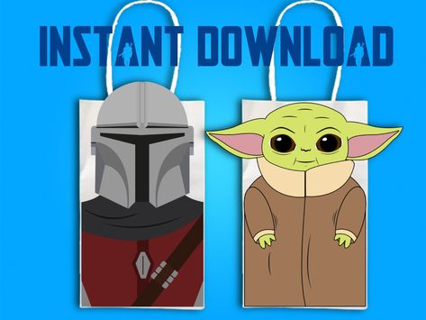 Star Wars Mandalorian and Baby Yoda Party Favor Bag Printables, Star Wars Birthday Party Goodie Bag, Star Wars Party Favor, Party Supplies Yoda Happy Birthday, Star Wars Birthday, 8th Birthday, Birthday Ideas, Birthday Party Goodie Bags, Party Favor Bags, Star Wars Party Favors, Yoda Images, Star Wars Baby