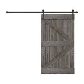 Creative Entryways Sliding Charcoal Stained K Frame Wood Pine Barn