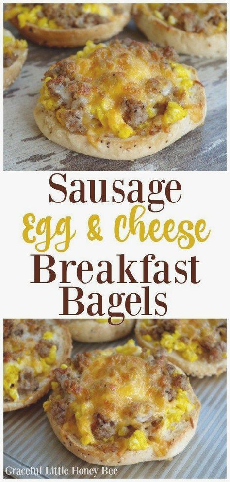 Sausage, Egg and Cheese Breakfast Bagels #breakfast #breakfasteggs #breakfastideas #healthybreakfast #ideas #quickbreakfast