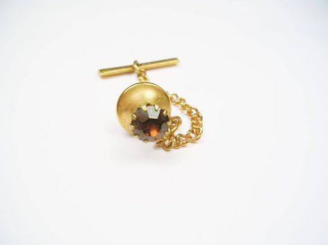 Vintage Tie Tack Amber Rhinestone Prong Setting Tie Pin with chain Formal Wear Necktie Jewelry Men Wedding Gift
