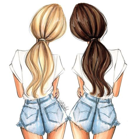 New hair colors added to a popular item in the shop. Check it out! Hnillustration.etsy.com ❤️ #bffs #fashionsketch #fashiondrawing…