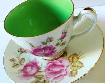 Westminster Australia Fine China Vintage Duo Teacup And Saucer Green Or Grey Inlay With White And Rose Floral Design Pretty Tea Cups Vintage Tableware