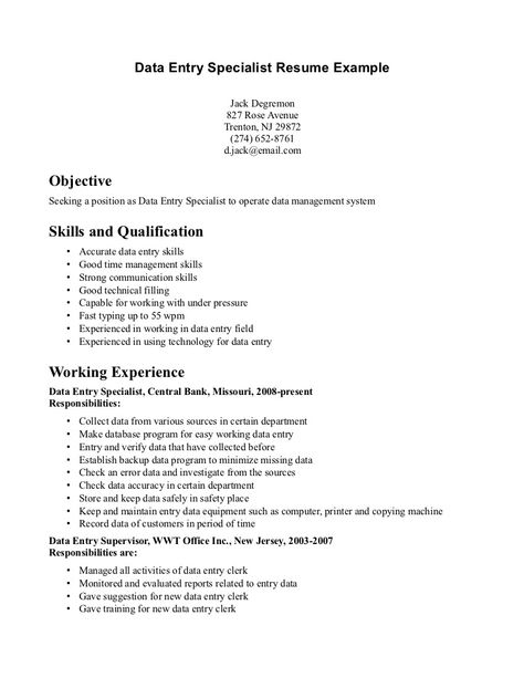 Data Entry Resume Resume Pinterest Data entry - resume data entry